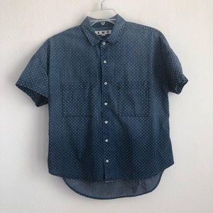 AMO Polka Dot Short Sleeve Button Down Shirt